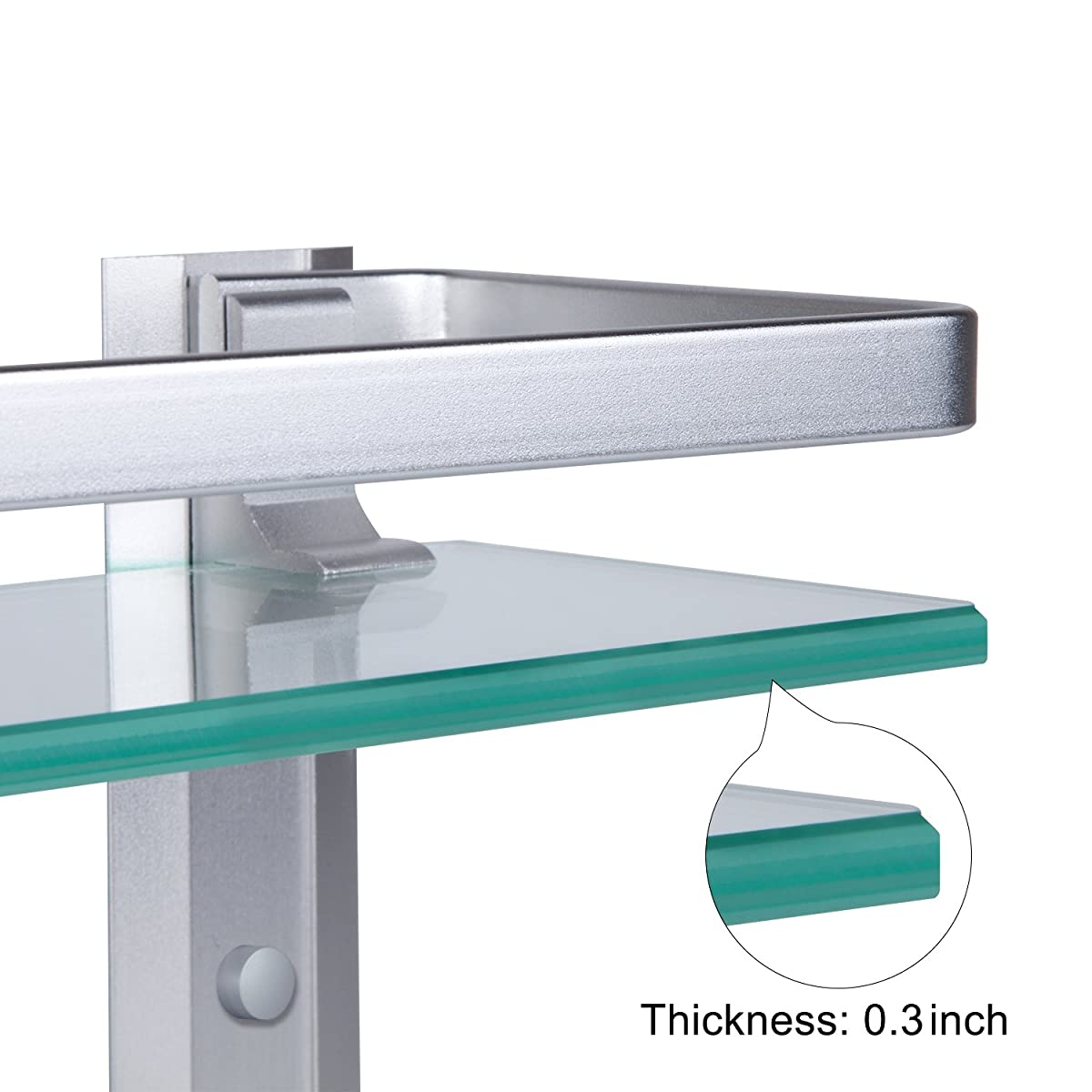 Vdomus Tempered Glass Bathroom Shelf with Towel Bar Wall Mounted Shower storage15.2 by 4.5 inches, Brushed Silver Finish