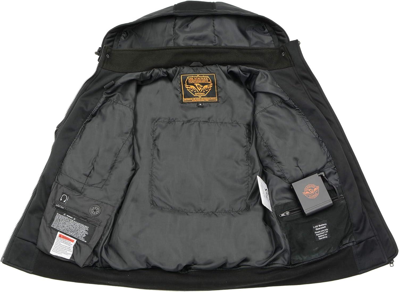Milwaukee Leather-Womens Soft Shell Heated Racing Style Jacket with Detachable Hood-BLACK-LG-2761