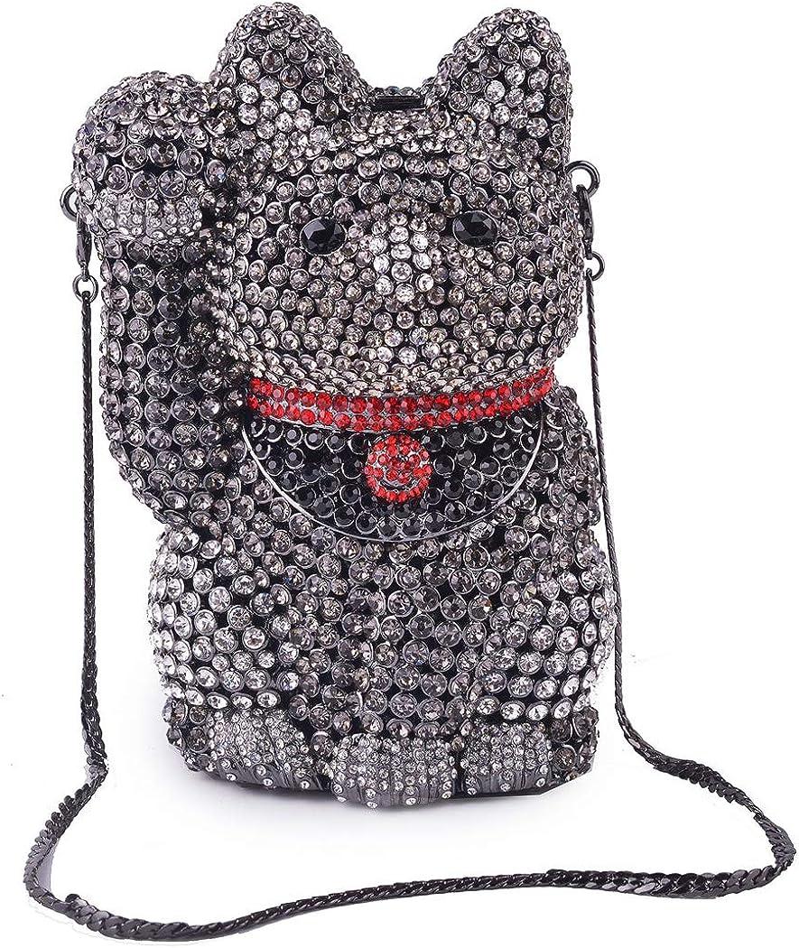 Lady Dazzle Full Diamond Clutch Lucky Cat Fortune Cat Evening Bag Gold Bling Rhinestone Chain Cross Body Bag Animal Purse