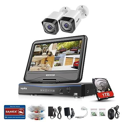 SANNCE Kit Sistema de seguridad 720P 2 Cámaras de vigilancia(H.264 Onvif 4CH