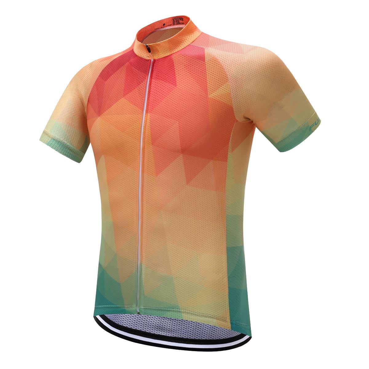 プランAクラシックブラックメンズシャツ夏サイクリングジャージー半袖自転車スポーツ服 B0745H3WPQ 3L OrangeDS14 OrangeDS14 3L