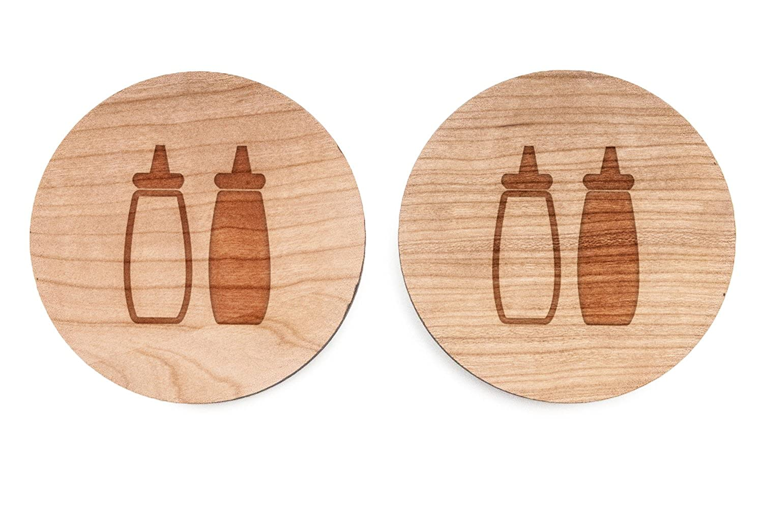 Wood Cufflinks Hand Made in The USA Wooden Accessories Company Ketchup Mustard Cufflinks