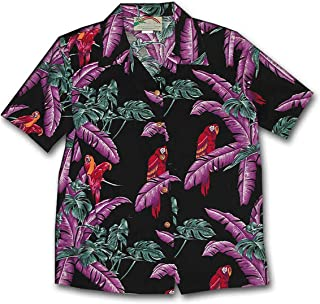 product image for Paradise Found Women's Jungle Bird Aloha Shirt, Black, XL