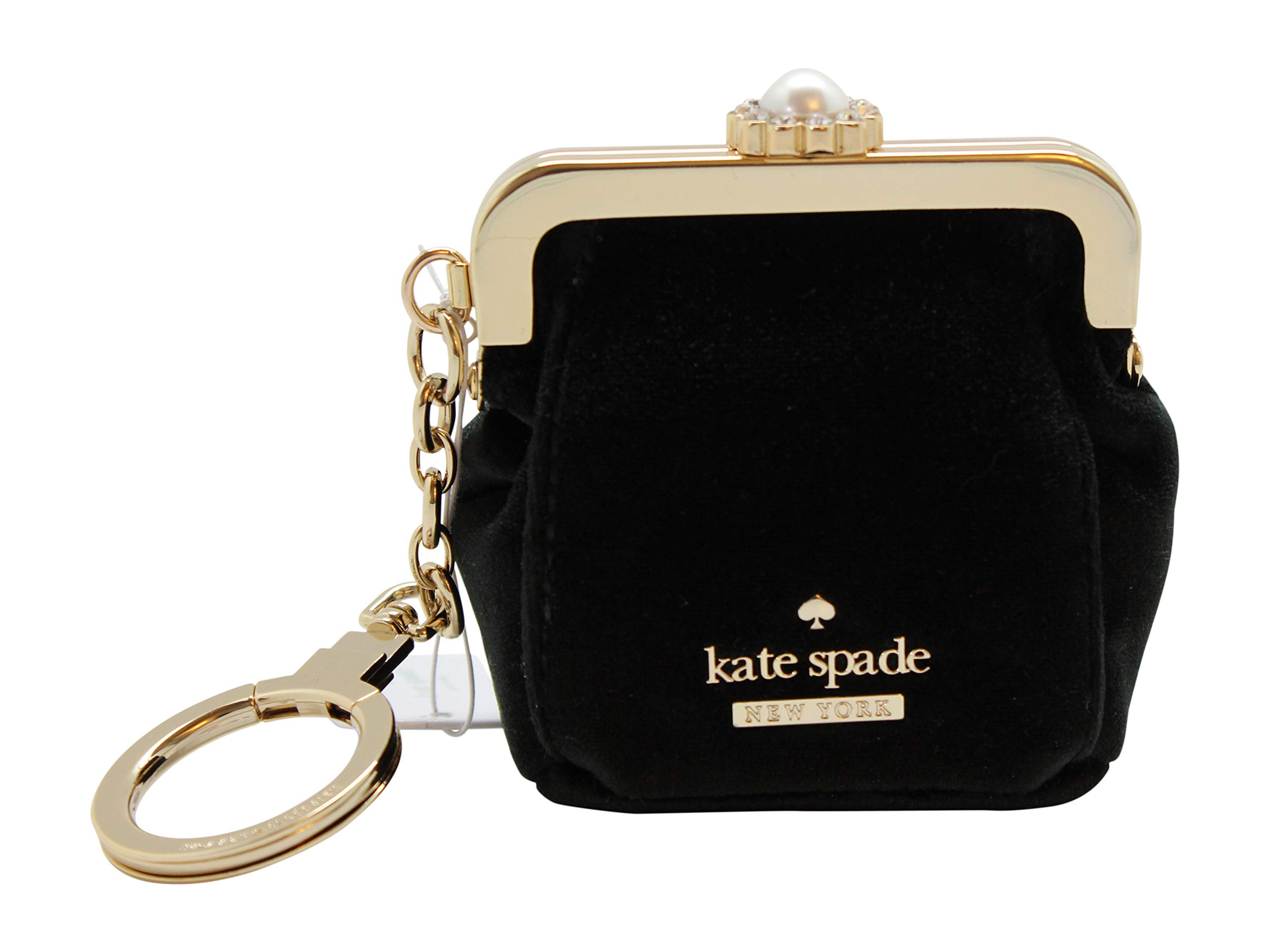 Kate Spade Little Black Velvet Coin Purse Small Keychain
