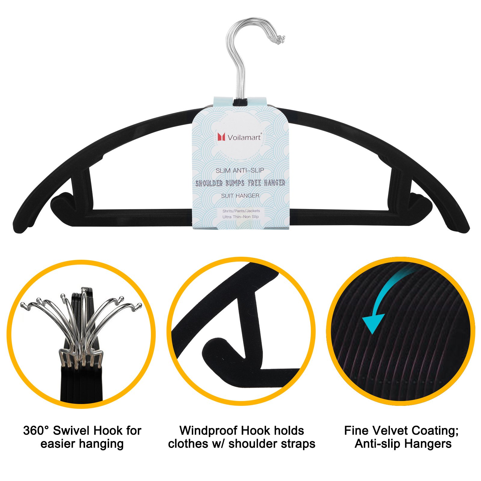 Voilamart Velvet Hangers Pack of 50 No Shoulder Bumps Suit Hangers with Chrome Hooks, Non Slip Space Saving Clothes Hangers Heavy Duty Rounded Hangers for Sweaters, Coat, Pants, Shirts, Dresses