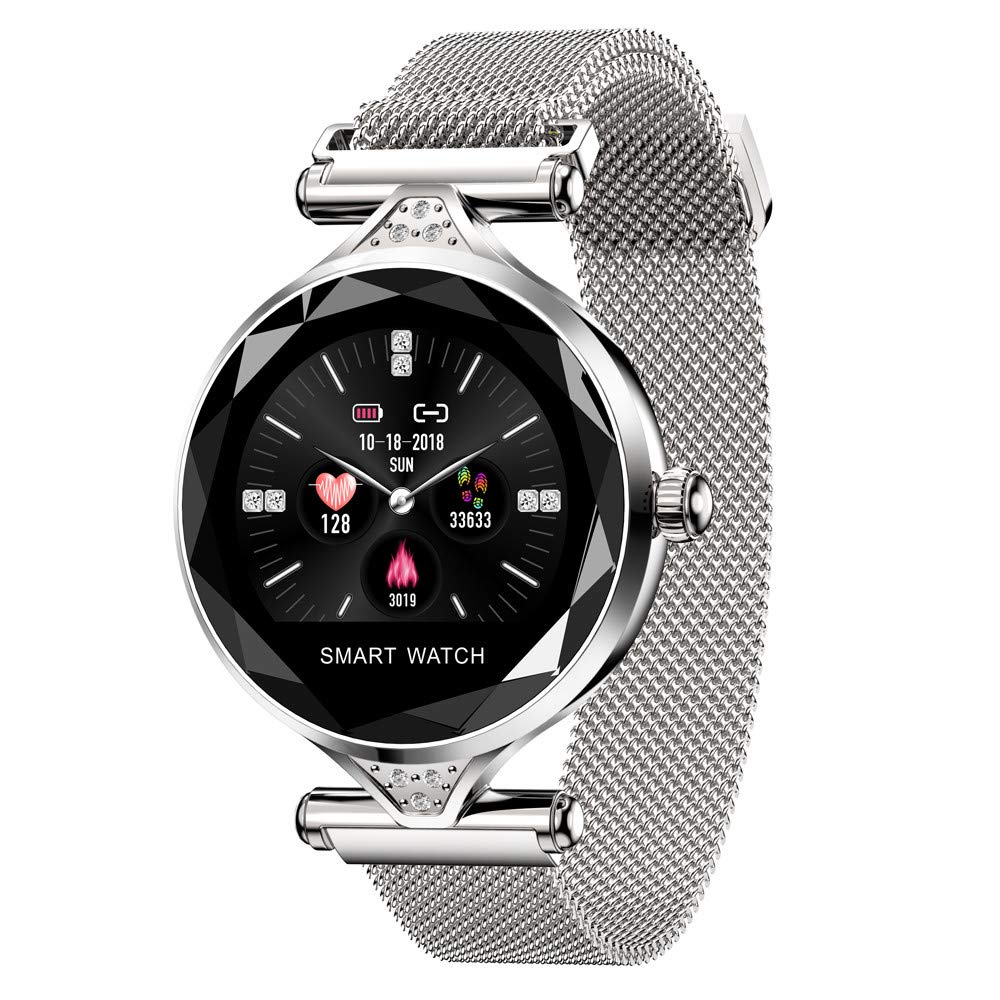 Bluetooth Sport Watch, YiMiky Smart Watch Heart Rate Monitor Fitness Watch Call/SMS Reminder Fitness Tracker for Women Pedometer Multi Modes Activity Tracker Calories Step Counter - Silver