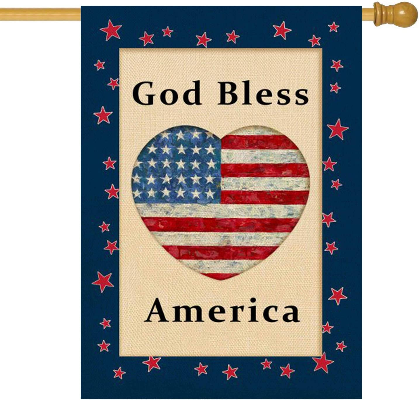 Molili God Bless America Garden Flag Burlap Vertical Double Sided,Farmhouse Summer 4th of July Patriotic American Flag Memorial Independence Day Garden Yard Decor ,Seasonal Outdoor Flag 28 x 40inch