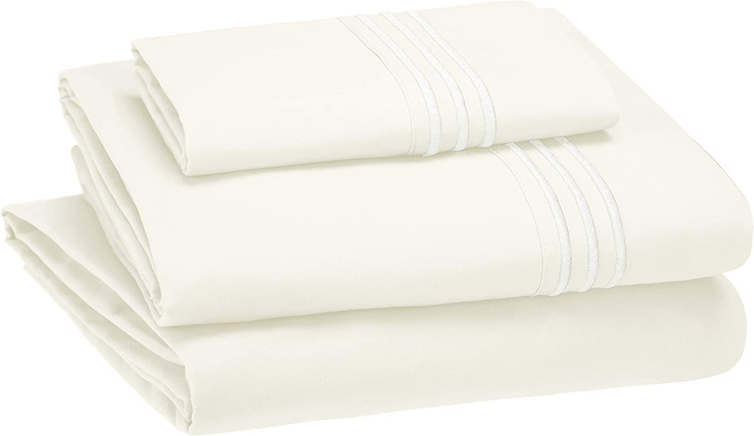 AmazonBasics Premium, Easy-Wash Embroidered Hotel Stitch 120 GSM Sheet Set - Twin, Off-White