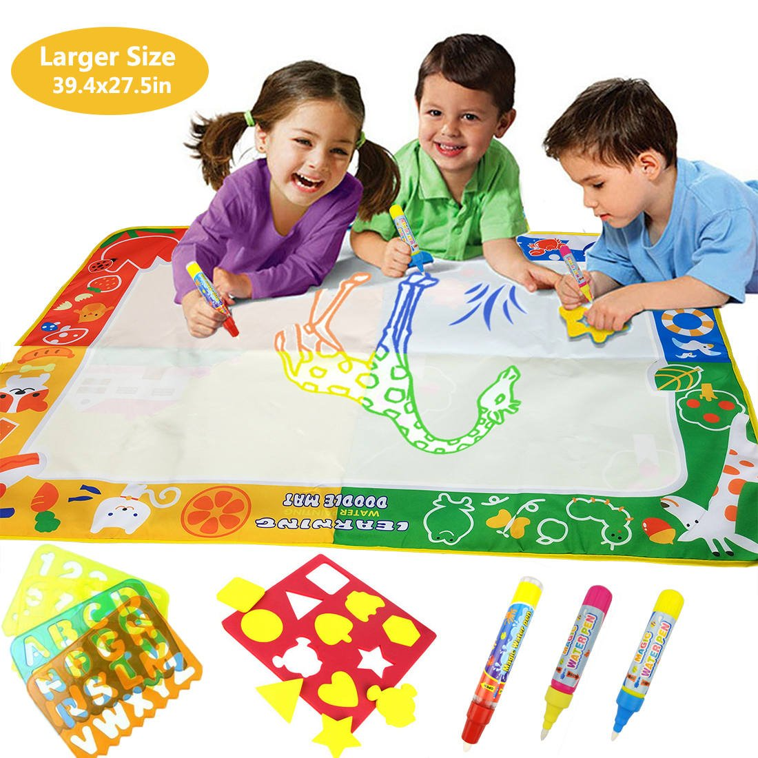 BaiFM Large Water Doodle Mat,Water Drawing Mat Pad,Aqua Magic Writing Mat with 3 Water Pens and 9 Molds and 49 Draw Templates,Kids Toddlers Girls Boys Educational Travel Toy Gift Size 39.4'' X 27.5''