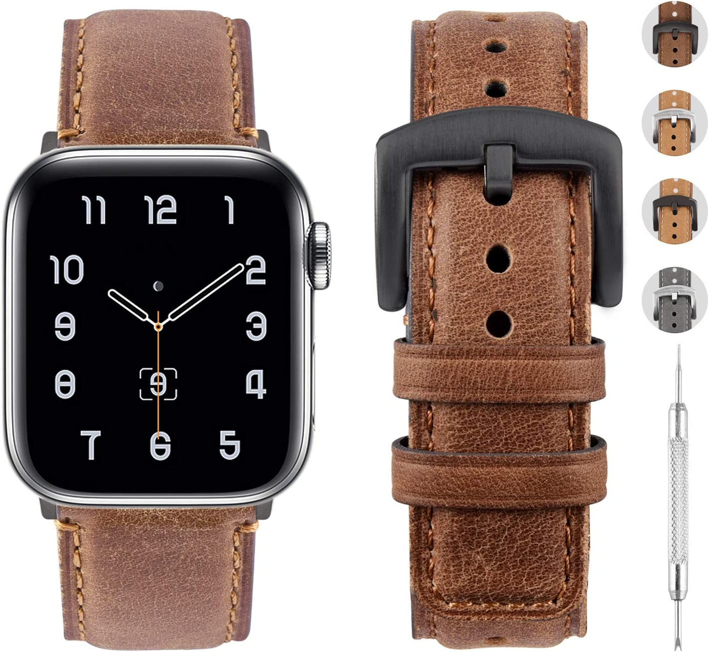 Fullmosa Leather Watch Bands Compatible with Apple Watch Band 38mm 40mm 42mm 44mm, Genuine Leather Replacement Strap Compatible with Apple Watch Series 6, SE, 5, 4, 3, 2, 1 Men Women