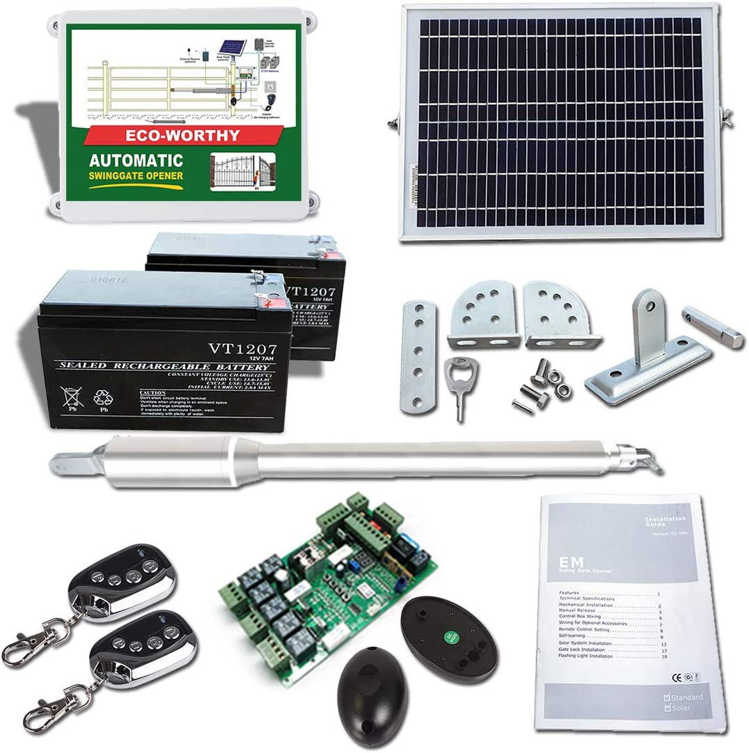 ECO-WORTHY Automatic Single Gate Opener Kit Solar Powered with Backup Batteries Operator System
