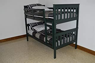 product image for Amish Kids Twin Over Twin Bunk Bed (Paint - Dark Green)