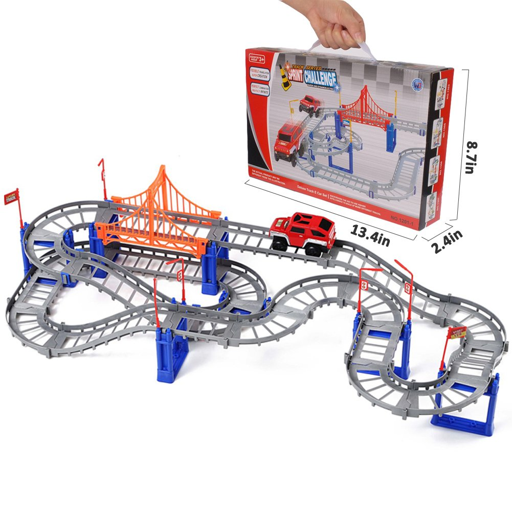 Jellydog Toy Race Car Track Set, Flexible Racing Car Track Playset, Variety Shape Train Tracks, Three-dimensional Double-track with Bridge, Track Toy for Kids 3 Years, 82 Pcs/Set, Gray