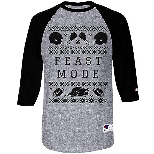2d88d170 Amazon.com: Feast Mode Sweater: Unisex Champion Raglan Baseball T-Shirt:  Clothing