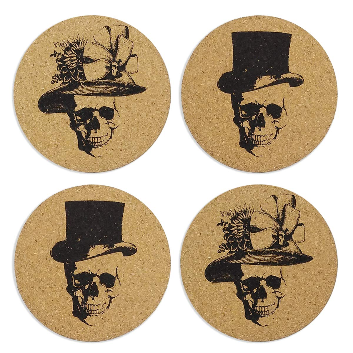 Skull Art Cork Coasters for Drinks, Funny skull Halloween gifts Decor Drink Coasters, Living Room, Home Decor, Protects Furniture from Damage.–Set of 4