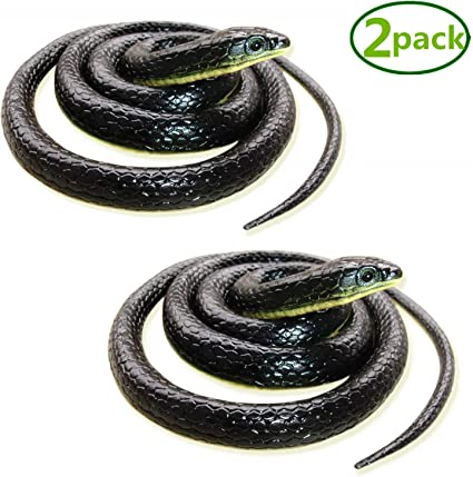 2019 Long Fake Realistic Snake Scary Rubber Toy Decor Prop Gift for Kids Black