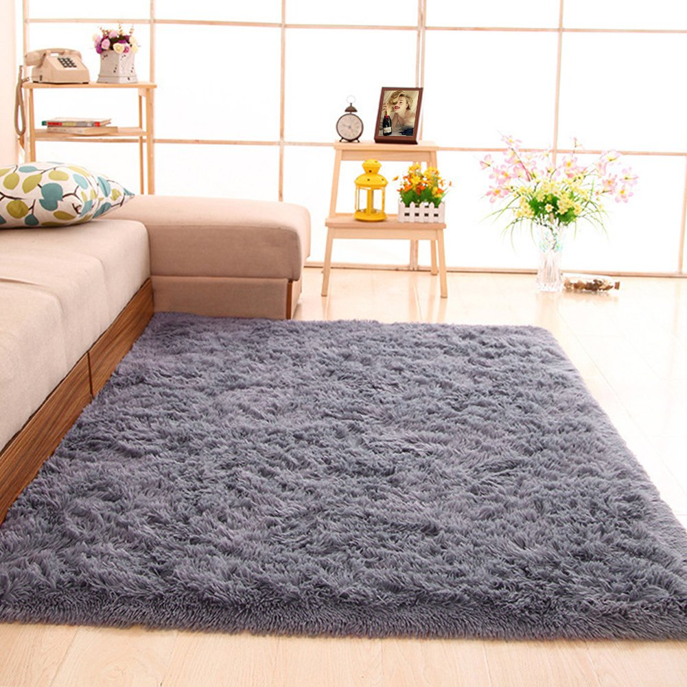 gdmgdr Ultra Soft and Fluffy Nursery Rugs 4cm High Pile Area Rugs for Bedroom and Living Room 4' x 5.3', Gray