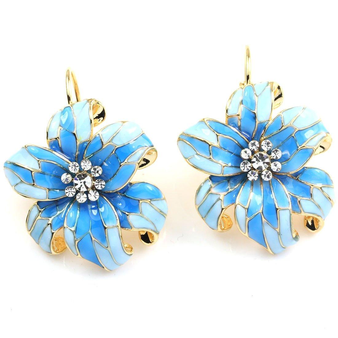 FC JORY Yellow Gold GP Blue Enamel Flower Drop Diamante Leverback Women Girl Earrings
