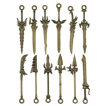 iloveDIYbeads 12pcs Craft Supplies Double Side Metal Weapon Sword Spear  Lance Knife Charms Pendants for Crafting, Jewelry Findings Making Accessory