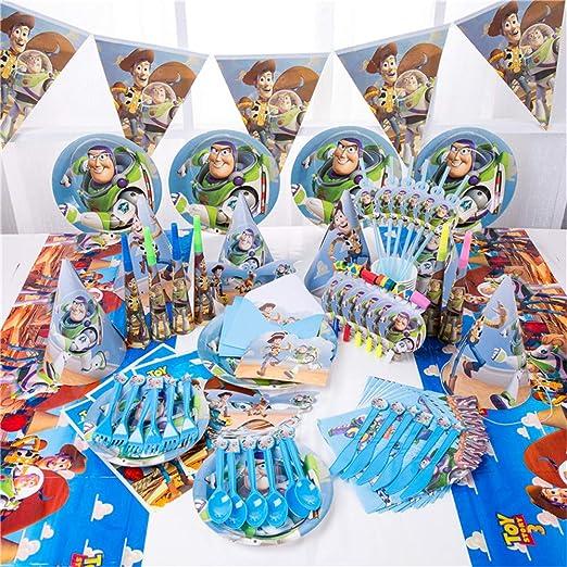 54 Piezas de Dibujos Animados Toy Story servilletas de Papel Desechables Banner Mantel pajitas Tazas Platos Baby Shower Fiesta de cumpleaños ...