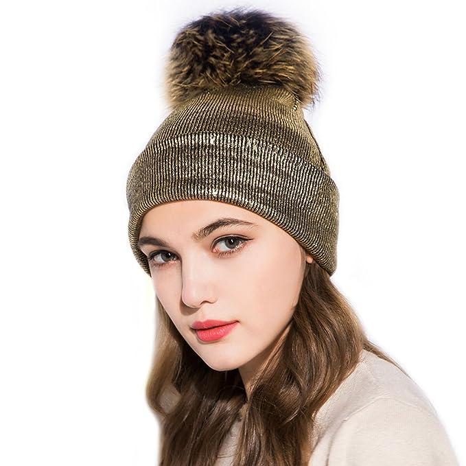 7a2883e6a GZHILOVINGL Womene's Metallic Beanie with Big Fur Pom Pom, Double Deck  Spring Hat