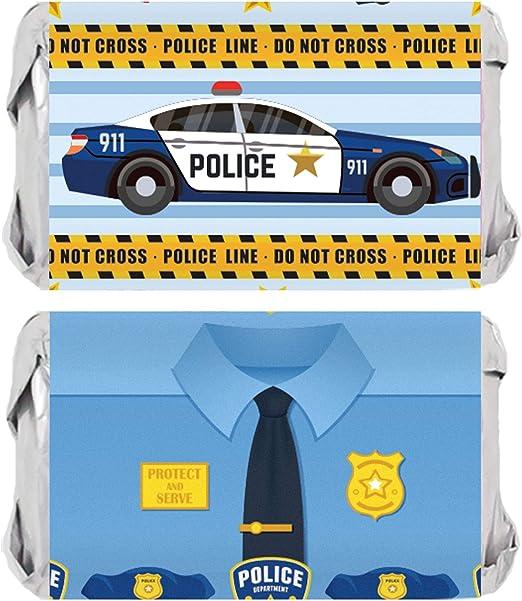 Envoltorios para barras de caramelo de cumpleaños de policía - 45 pegatinas: Amazon.es: Salud y cuidado personal