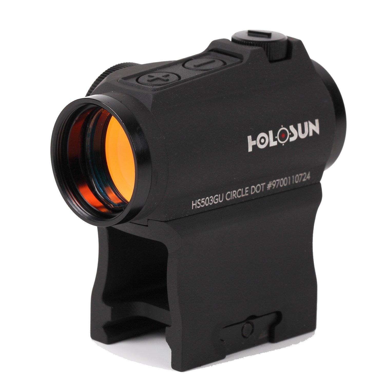 HOLOSUN 実銃用 実物 ドットサイト サークル切替 t1マウント互換 20mm レイル対応 ハイマウント 付属 青暗さのない透明度の高いレンズ HS503GU B078W3MC6F BLACK HS503GU