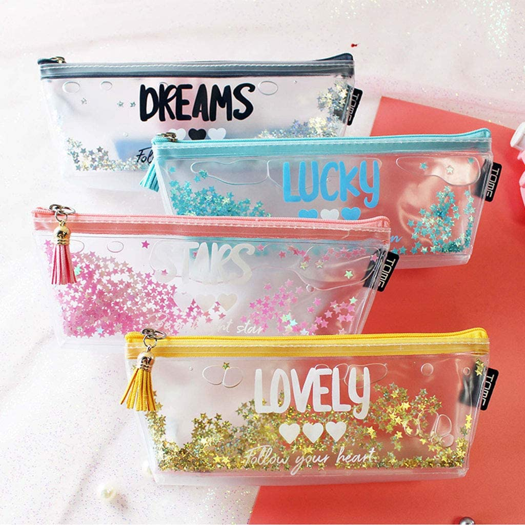 GREEN/&RARE Belle English Lettre Motif Crayon Transparent /Étoile Paillettes Cadeau Plumier Sac Pen Fournitures Scolaires /Étudiants Cas Stationery Office