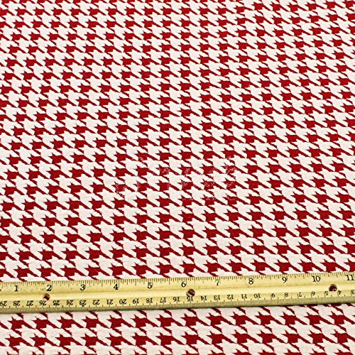 Houndstooth Knit Jacquard Knit Fabric Cotton Knit Jacquard Fabric Red Off White by the Yard - 1 Yard (Fabric Upholstery Houndstooth)