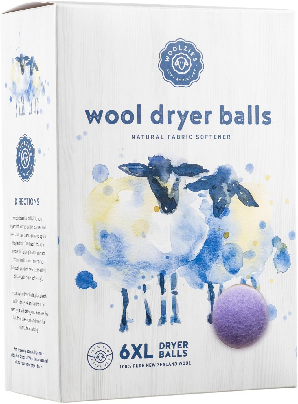 Woolzies Wool Dryer Balls (6 XL, Lavender)