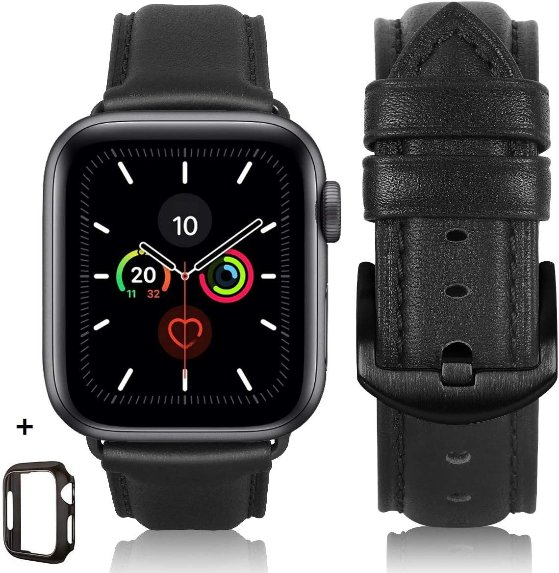 Compatible iWatch Band 42mm 44mm 38mm 40mm, Top Grain Leather Band Replacement Strap iWatch Series 6/5/ 4/3/ 2/ 1,Apple watch SE,Sport, Edition (Retro Black Band+ Black Buckle, 42mm 44mm)