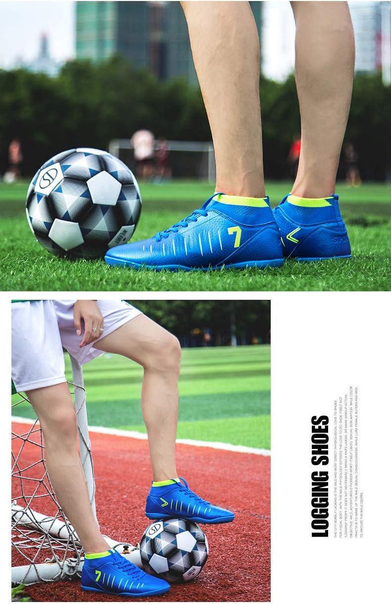 KANGLE Tobilleras Altas Botines de fútbol para Hombres Botas de fútbol Botines y Picos Cortos Zapatos de fútbol para Hombre Zapatillas de Deporte Césped Interior Futsal,Azul,41: Amazon.es: Hogar