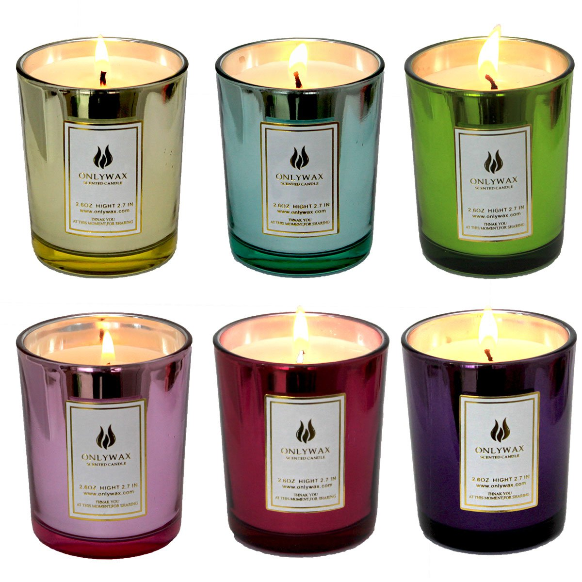 Set of 6 Scented Candles 100% Soy Wax Glass, Home Fragrance Candle Gifts. Onlywax