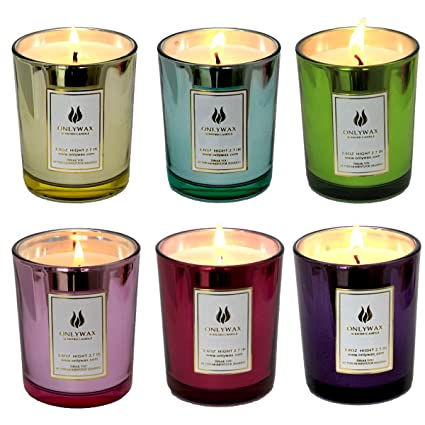 amazon com set of 6 scented candles 100 soy wax glass home