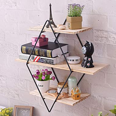 KingSo Rustic Wood Wall Floating Shelves,Decorative Wall Shelf for Bedroom, Living Room, Bathroom, Kitchen, Office and More (Rhombus)