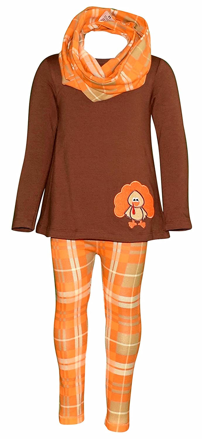 Unique Baby Girls 3 Piece Thanksgiving Turkey Embroidery Plaid Outfit