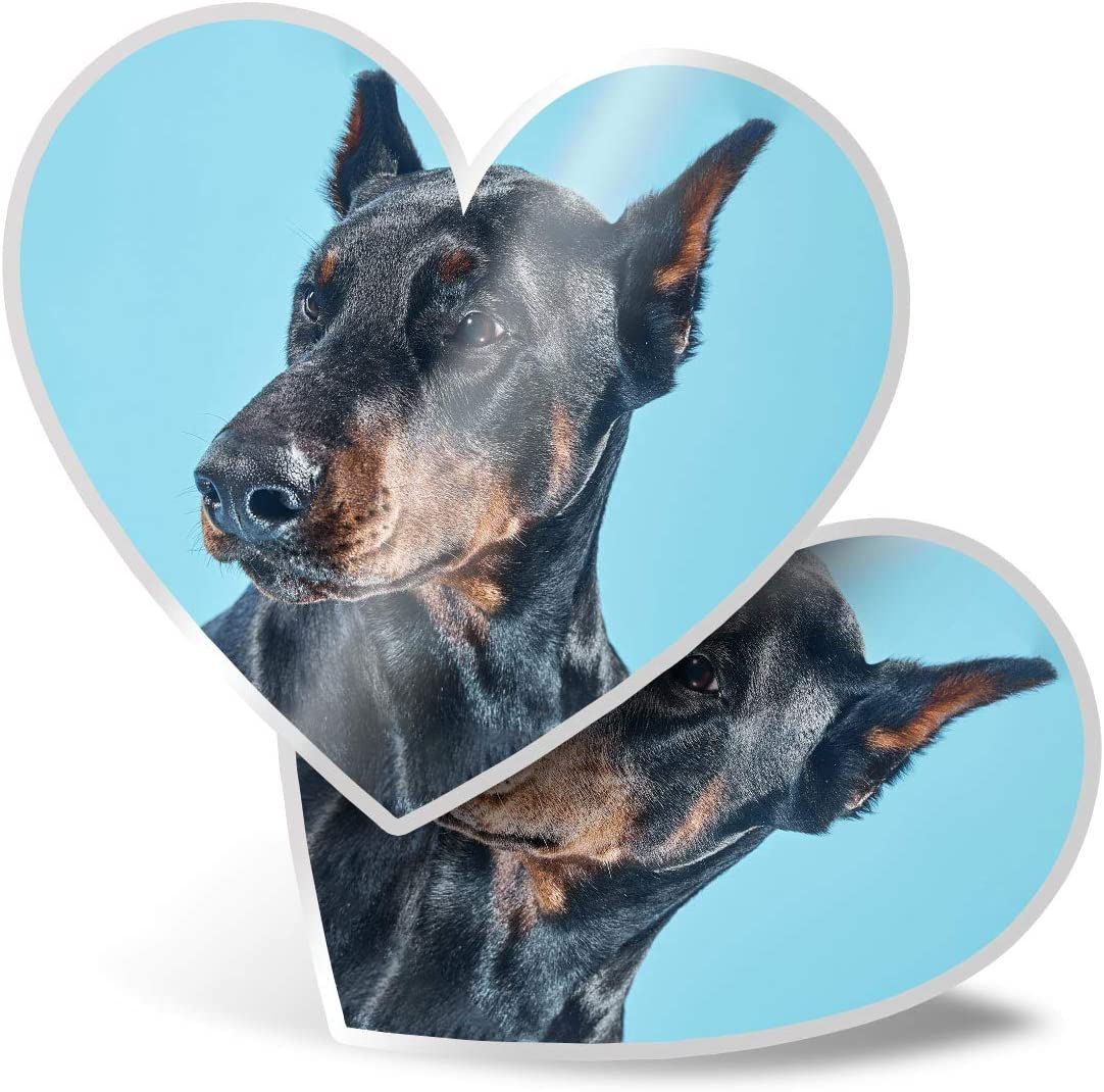 Awesome 2 x Heart Stickers 7.5 cm - Doberman Dog Portrait Puppy Fun Decals for Laptops,Tablets,Luggage,Scrap Booking,Fridges,Cool Gift #3240