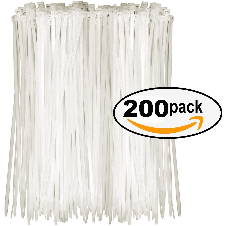 6'' Inch Zip Ties White (200 Pack), 30lb Strength, Plastic Ties Self-locking Nylon Cable Ties Zip Ties Perfect for Organizing Wires for Organizing Wires, Home, & Office Use (6)