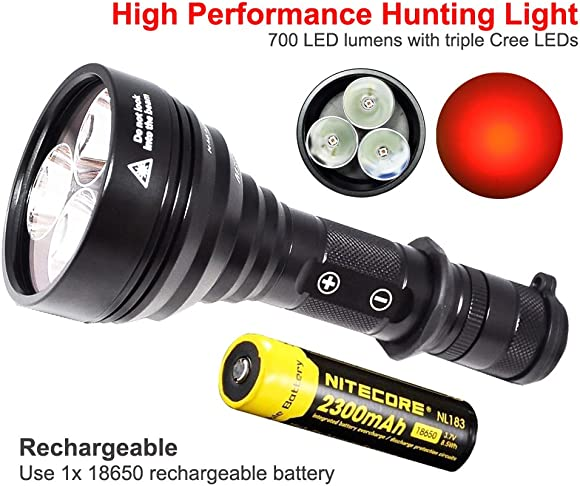 ORION M30C 700 Lumen Red or Green 377 Yards Long Range LED Hog Predator Varmint Hunting Flashlight Rechargeable Light Kit with Pressure Switch