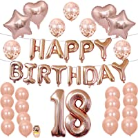 Suministros de fiesta de decoraciones de 18 años, oro rosa dulce 18 números de globos de cumpleaños, globos de látex de confeti, decoración de 18 años de cumpleaños,18th Birthday Decorations Party Supplies