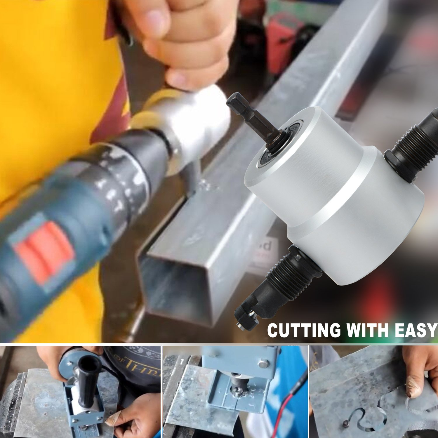 Metal Nibbler Cutter, Double Head Metal Sheet Nibbler Metal Cutting Drill Hole Saw Attachment Tool with Plastic Rack