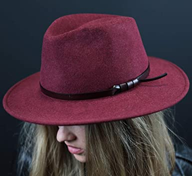 Classic Italy Banes Fedora Hat Size 56 cm 89-Burgundy