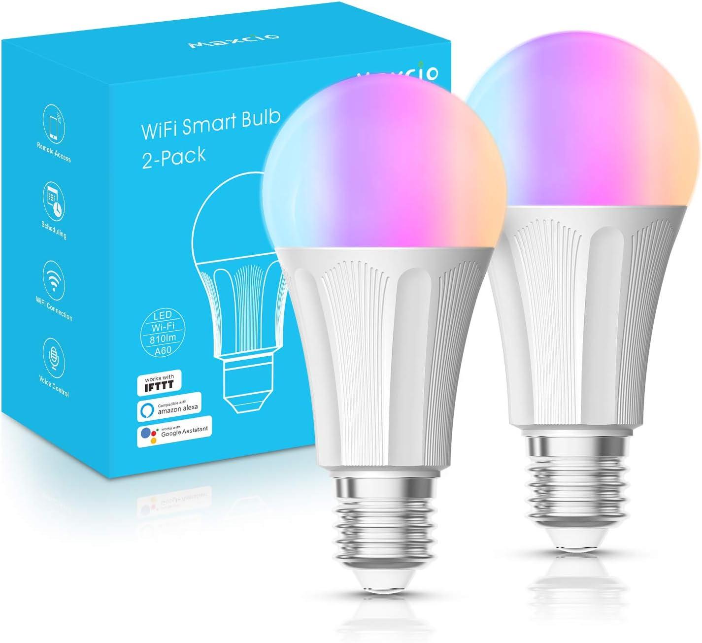 Maxcio Bombillas LED Inteligente WiFi E27 9W Mutilcolores ...