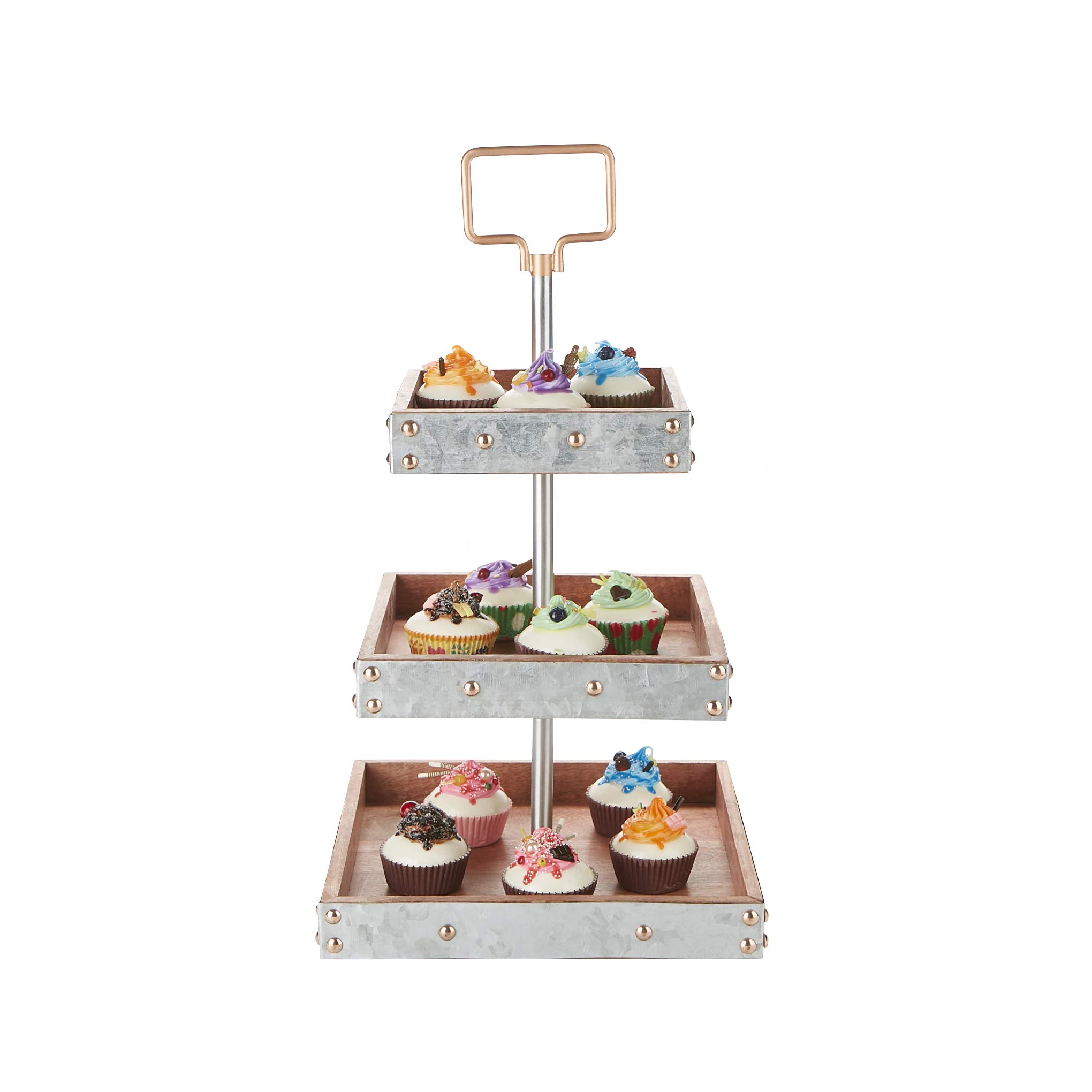 Mind Reader ALUT3SQ-SIL 3 Square, Party Pastry, Cupcake Holder, Tree Tower Stand, Tiered Serving Dessert Display Tray, Silver, One Size,