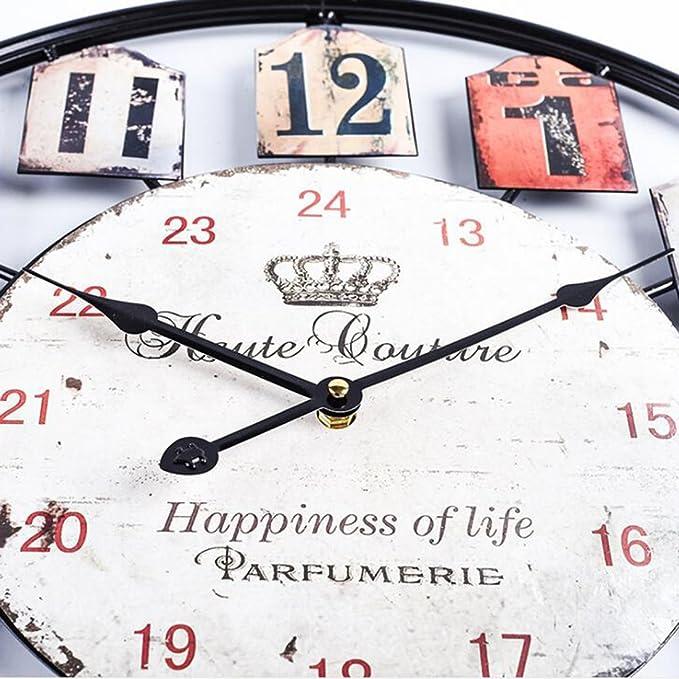 Noir Mecotech /Ø 50 CM M/étal Horloge Murale XXL Pendule Murale Design Silencieuse Horloge Decorative pour Maison//Cuisine//Chambre//Salon//Bureau Horloge Murale