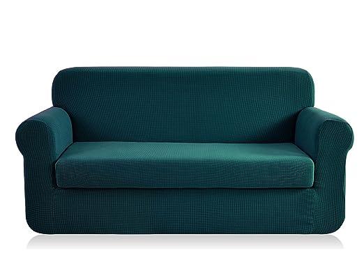 CHUN YI - Funda para sillón de Dos Piezas Jacquard de Alta Elasticidad, poliéster y Elastano, Protector de Muebles para sofá y sofá (Grande, Azul)