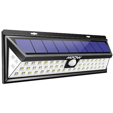 Mpow Foco Solar Exterior,Luces Solares Jardín 54 LED, Gran Ángulo 120°, Impermeable, Proporcionar hasta 12 HORAS con 3 Modos y Sensor de Movimiento ...