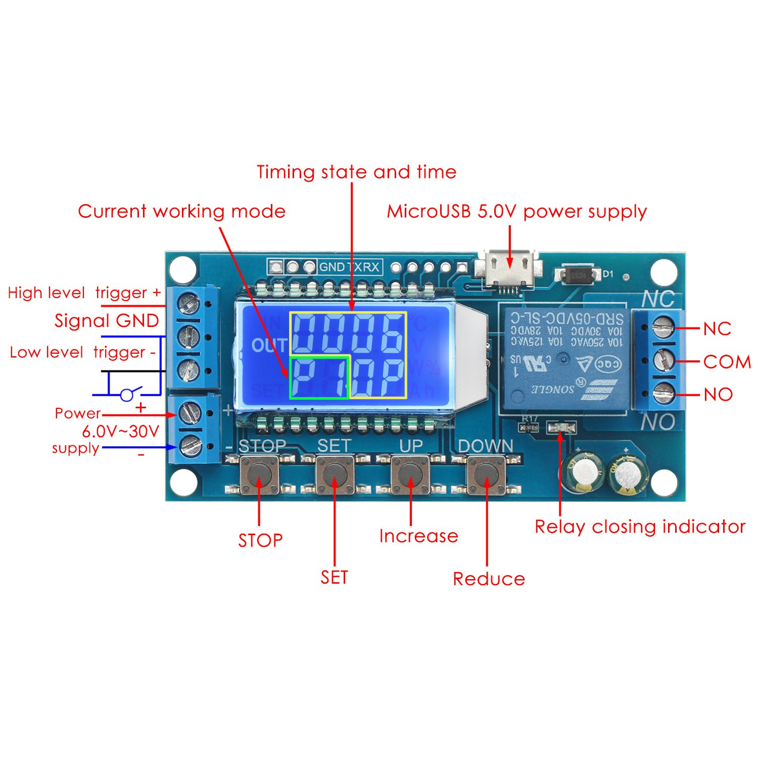 Time Delay Relay Drok 5v 12v 24v Controller Board Off Switch Circuit Module W Vehicle Electrical Cycle Timer 001s 9999mins Trigger Switching With Lcd Display Support