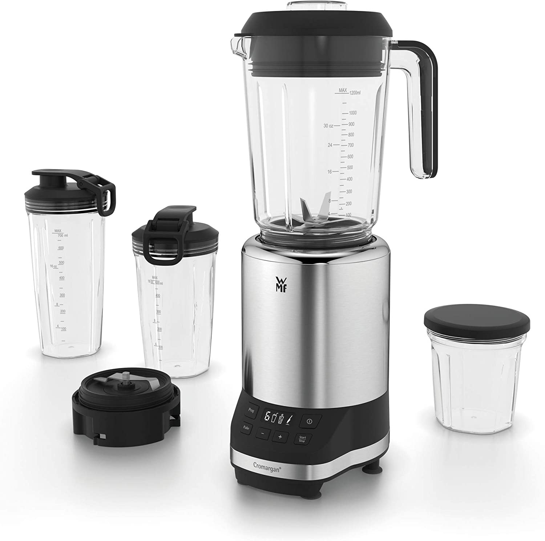WMF Kult Pro Batidora de vaso Multifunctional, 1.2 litros, 1200 W, 6 velocidades, icluye accesorios,  libre de BPA, Tritan, Acero Inoxidable cromargan