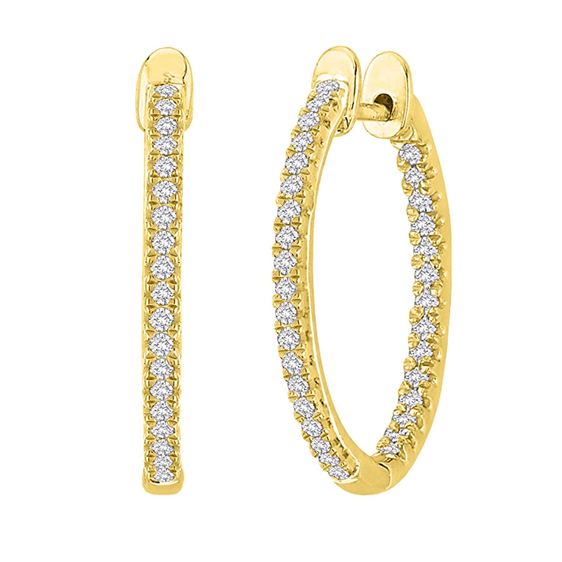 3 Carat t.w. Oval Inside Outside Diamond Hoop Earrings Premium Collection 14K Yellow Gold